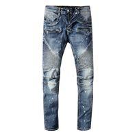 camiseta mulheres denim venda por atacado-2019 Clássico Balmain Jeans mens designer de camisetas Punk Verão Em Linha Reta Confortável Moda Na Altura Do Joelho Jeans Homens Mulheres Tendência de Algodão Denim