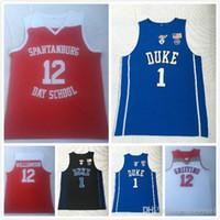 camisolas dias venda por atacado-2019 Hot Spartanburg School Day # 12 Sião Williamson jerseys Duke faculdade # 1 bordado camisola do basquetebol camisa do ensino médio