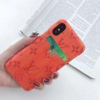 carteira da tampa do telefone móvel venda por atacado-Um pedaço de luxo designer de casos de telefone para iphone x iphone 7 plus case tampa traseira logotipo da marca caso de telefone móvel com cartão de bolso