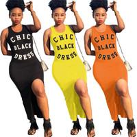 siyah kolsuz uzun elbise toptan satış-Kadınlar Chic Siyah Elbise Mektup Baskılı Kolsuz Yelek Tank Bölünmüş Elbiseler Plaj Rahat Kulübü Yaz Maxi uzun etek AAA2233