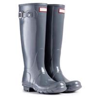 туфли на высоком каблуке фетиш оптовых-Hot Sale-Winter Rain Boots Женщины Фетиш Высокие каблуки Сапоги Женские гольфы Слип-на Водонепроницаемые Low Solid Rain Boots Mujer