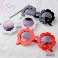 vasos de flores para niños al por mayor-Mezcla 6 estilos niños gafas de sol flor caramelo niños moda gafas de sol redondas niños lindos chicas gafas de sol