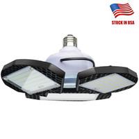 birne deckenleuchte großhandel-45W 60W 80W E27 LED Birne SMD2835 Superhelle LED Faltbare Lüfterflügel Winkelverstellbare Deckenleuchte Energiesparlampen - USA Lager
