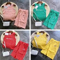camiseta de verano para niñas al por mayor-Campeón de los niños chándal marca Shorts Set BOys Girls Striped Tank Chaleco camiseta + Shorts de nivel medio 2 piezas de verano diseñador de ropa Set C53002