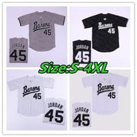 Men's Birmingham Barons 45 Michael MJ Jersey Black White Grey Stitched Movie Baseball Jerseys Cheap Mix Order Size S-4XL