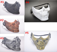 Wholesale tactical skull half face mask for sale - Group buy 300Pcs Halloween Tactical Mask US Fans Half Face Skeleton Warrior Skull CS for Halloween Party Masks