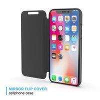telefone base iphone venda por atacado-50 pcs espelho de luxo limpar view case para iphone 5 6 6 s 7 8 plus x xs max xr tampa do telefone chapeamento base vertical suporte