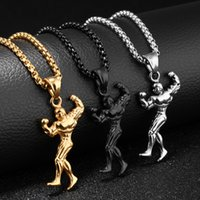 Wholesale gun chains color gold for sale - Group buy Creative Fitness Muscle Male Pendant Necklaces Stainless Steel Three Color Gold Gun Black Silver Generous Designer Men Necklace Jewelry