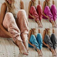farbe hosen für frauen groihandel-Frauen Lounge Schlaf Pants Adult Pyjama Bottoms Warm Plüsch Fleece-Hose Schlaf Pyjama Nacht Solid Color-lange Hosen tragen LJJK1142