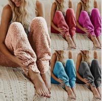 paño de noche al por mayor-Pantalones para mujer del desgaste del sueño Salón adultas pijama Bottoms caliente felpa Fleece Pantalón de pijama sueño la noche del color sólido pantalones largos LJJK1142