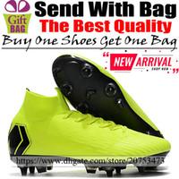 calcetines de fútbol verde negro al por mayor-Nuevos botines de fútbol al aire libre de tobillo alto Mercurial Superfly VI SG Botas de fútbol Picos Calcetines para hombre Zapatos de fútbol Fluorescente Verde Negro 6.5-12