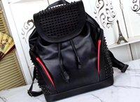 backpack großhandel-Designer-Rucksäcke aus echtem Leder Rucksack Rivet Rock-Stil Mann Christ Lobotin Designer-Rucksack Mann Reisetaschen
