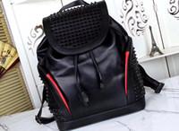 mochilas de estilo masculino al por mayor-mochilas de diseño mochila de cuero genuino Rivet rock style hombre Christ Lobotin mochila de diseño hombre bolsas de viaje