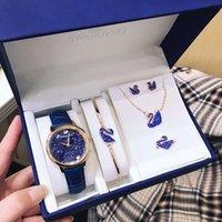 schwan halskette gesetzt großhandel-Designer Uhren Set Red Swan Diamond Schmuck Set Swan Watch Pearl Armband Halskette Ohrringe Ring Blue Diamond Fashion Accessoires Set