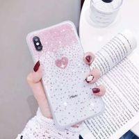 bozuk iphone telefonlar toptan satış-YunRT moda kız pembe kırık elmas aşk desen telefon kılıfı için iPhone 6 6 s 7 8 artı x xr xs max şeffaf glitter yumuşak vaka