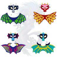 máscara de cara de niña caliente al por mayor-Hot Kids Dragon Dinosaur Wing Mask Set Boys Girls Halloween Christmas Dress Up Disfraz Máscaras faciales Cape Props Party Supplies Regalos de fieltro