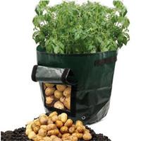 ingrosso tin wood boxes-Outdoor Verticale da giardino Appeso Open Style Vegetable Planting Grow Bag Potato Fragola Fioriera Borse per coltivazione di patate