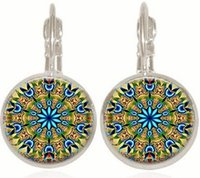 Wholesale christmas earrings for sale - 10Pair Fashion Rose Window Stained Glass Notre Dame de Paris Cathedral Earrings Jewelry DIY Religious Earrings
