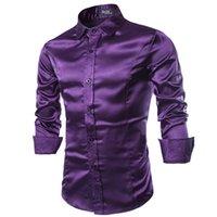 uzun mor ipek elbise toptan satış-Yeni Erkekler Gömlek Uzun Kollu Chemise Homme 2019 Moda Tasarımı Mor Erkek İpek Gömlek İnce Smokin Gömlekler Marka Camisa Sosyal