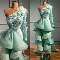 Wholesale one shoulder sexy lace evening gowns for sale - Group buy Mint green High Low Evening Dresses One Shoulder D Floral Appliqued Crystal Feather Prom Dress Party Wear Luxury Ruffles Robes