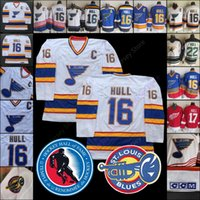ingrosso maglie del nord del minnesota-Brett Hull Jersey Hockey Hall Of Fame Patch St. Louis Blues Detroit Red Wings Minnesota North Stars CCM Tutti cuciti