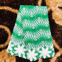 Wholesale lace net fabric for sale resale online - 5Yards pc Hot sale white and green flower design african milk silk lace embroidery french net lace fabric for dress HZ6