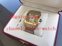 caja de papel amarilla al por mayor-De calidad superior XL Auto Hombres 18kt Oro Amarillo Acero Automático Maquinaria Reloj deportivo W200728G Reloj de pulsera de los hombres Caja original / Papeles