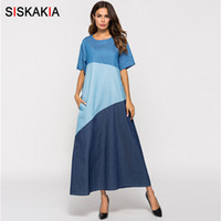 ingrosso abito blu blocco colore-Siskakia Vintage Color Block T Shirt Dress Estate 2018 Fashion Contrast Color Patchwork Maxi Long Dress Slip Elegante Denim Blue Y190507