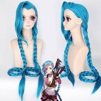 jinx cosplay venda por atacado-Liga de Lendas ajustável LOL Jinx Cosplay Azul Longo Cabelo Liso Twist Peruca Peruca Cheia