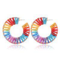 Wholesale earrings rainbow for sale - Group buy Handmade Rainbow Colorful Raffia Earring Big Oval Geometry Straw Knit Earrings for Lady Women Newest Ethnic Lucky Jewelry