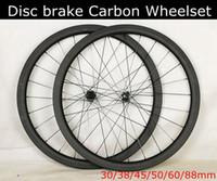 pernos de las ruedas al por mayor-Bujes de disco DT350 Freno de disco tubeless 30/38/45/50/60 / 88mm rueda cíclica de carbono, 6 pernos de bloqueo central Rueda clincher de carbono de eje pasante