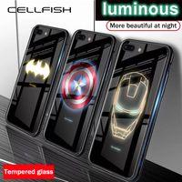 ingrosso i casi di telefono del batman iphone-Teca di vetro Marvel Avengers luminoso temperato per iPhone X XS MAX XR 10 6S 7 8 Inoltre 7plus 8plus 11 PRO Coque Batman copertura del telefono