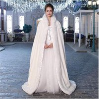 Wholesale play wedding dress for sale - Group buy Ivory white long velvet faux fur warm winter wedding trench coat cloak bride cape dress up party ball role play