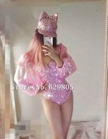 voller bodysuit rosa großhandel-Mode Rosa Voller Diamanten Nähen Auf Bodysuit Outfit Sängerin Tragen Funkelnden Strass Kleid Party Kostüm Anpassen Trikot