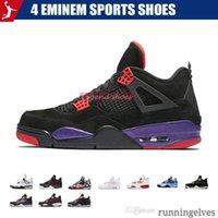 basketbol ayakkabıları yeşil renkte toptan satış-4 Eminem Spor Ayakkabı Encore Saf Para Beyaz Çimento Royalty Bred Toro Bravo Thunder Yeşil Glow Ayakkabı 4s Erkek Basketbol Sneakers