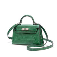 женские сумки из натуральной кожи оптовых-2019 New Fashion Luxury Alligator Women's Handbags Designer  Messenger Bags Genuine Leather Small Shoulder Bags Sac A Main