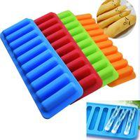 popsicle trays groihandel-Wiederverwendbare Eiscreme Werkzeuge Eis am Stiel Halter 10 Würfelschale Einfrieren Eisform Für Wasserflasche Pudding Gelee Schokoladenplätzchen Form HH9-2140
