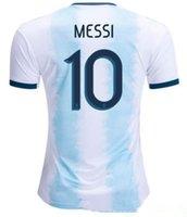 argentinien zuhause großhandel-2019 Argentinien Heimtrikot Copa America 19 20 neue Saison Fußballtrikot MESSI DYBALA HIGUAIN ICARDI Fußballtrikot