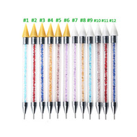 ongles à pois achat en gros de-Tamax 1pc Dual-ending Nail Dotting Pen Cristal Perles Poignée Strass Goujons Cire Cire Crayon Manucure Paillettes Poudre Nail Art Outils
