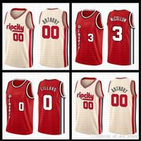 ingrosso pullover autentici di baseball della nave-00 Carmelo Anthony Damian Lillard 0 Jersey NCAA CJ 3 McCollum Basketball Maglie Blazer