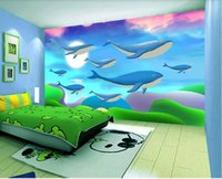 Wholesale whale sticker resale online - Custom size d photo wallpaper mural living room bed room hand painted whales d picture sofa TV backdrop wallpaper mural non woven sticker