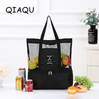 Wholesale lunch bags for sale - Group buy Portable Shoulder Bag Double Deck Lunch Picnic Package Sports Grid Storage Bag for Beach Picnic Travel Outdoor Sports handle