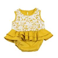 macacão amarelo venda por atacado-INS hot vender Bebê gils romper rendas doce crianças menina verão amarelo macacões moda crianças crianças roupas de escalada