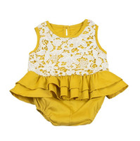 jumpsuit jaune bébé achat en gros de-INS vente chaud bébé gils barboteuse dentelle douce enfants fille été jaune combinaisons mode enfants escalade vêtements pour enfants
