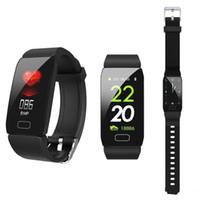 su geçirmez hücre izle toptan satış-Q1 smart watch spor spor bilezik kalp hızı izci kan basıncı bileklik ios android cep telefonu için ip67 su geçirmez bant pedometre