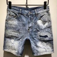 jeans de marca ao ar livre venda por atacado-Denim Jeans Shorts Homens Verão Buraco Patch Patchwork Esportes Ao Ar Livre Jeans Rasgado Curto Calças De Marca Designer LJJO6545