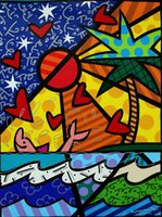 Wholesale coconut art paintings for sale - Group buy Romero Britto Cartoon Abstract Art The Sea Coconut Trees Oil Painting Reproduction High Quality Giclee Print on Canvas Modern Home Art Decor