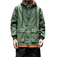 tranchée de mode armée achat en gros de-Armée Vert Trench-Coat Hommes De Style Coréen Vêtements De Mode Mâle À Capuche Trench-Coat Veste Mens Vintage Coupe-Vent High Street