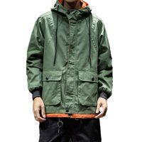 ingrosso la giacca coreana dell'esercito-Army Green Trench Coat Uomo Stile coreano Moda Abbigliamento Uomo Giacca con cappuccio Trench Jacket Uomo Vintage Windbreaker High Street