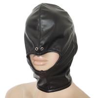 mascarillas de cuero al por mayor-Kinky Fetish Bondage Cabeza Boca abierta Gimp capucha de cuero suave de la cremallera con la máscara de la nariz Vent Fetiche traje de cosplay